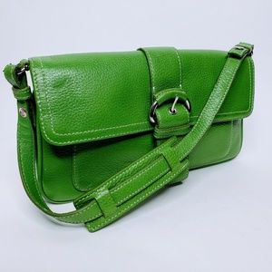 Ann Taylor Loft Green Leather Strapped Clutch Bag